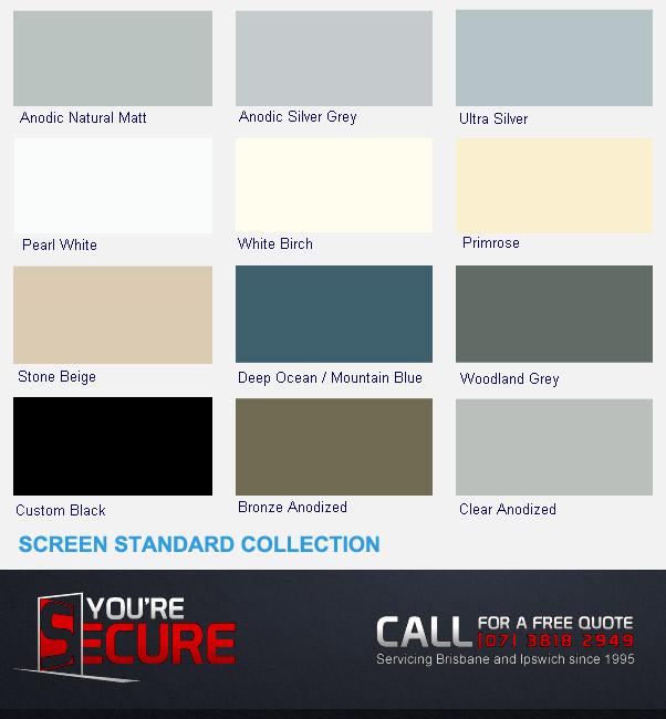 Screens standard colour chart